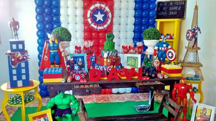 Decoração dos heróis Festa dos heróis #heróis #festadosherois #herois #mesadosherois #beth_decora