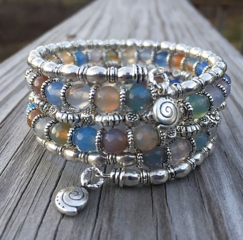 Multi Gemstone Memory Wire Wrap Bracelet With door McHughCreations