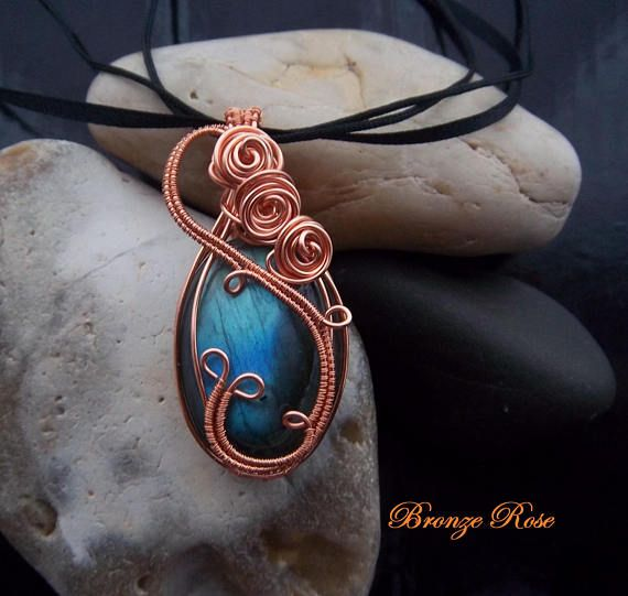 Hand crafted wire wrapped labradorite necklace