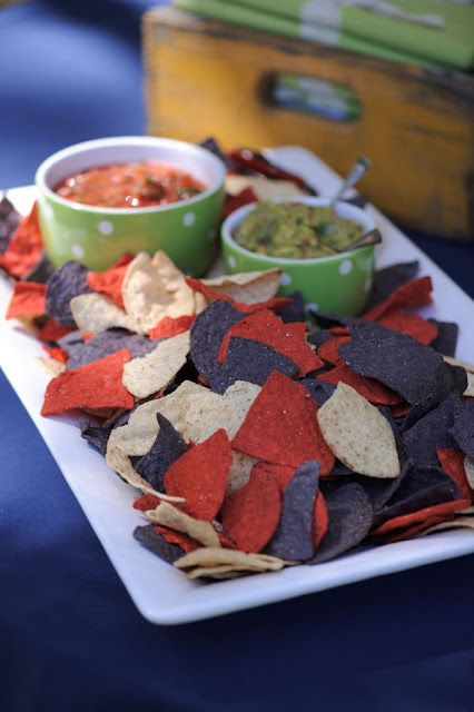 Red, white and blue corn chips - terrific for a 4th of July party.