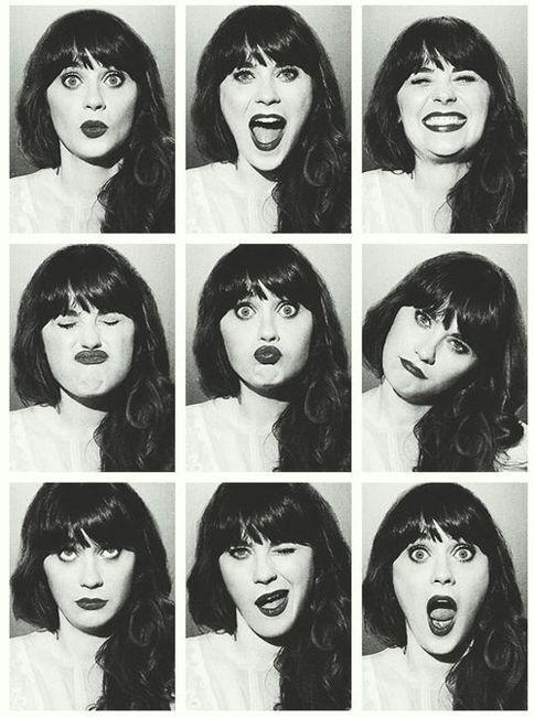 zoe deschanel | goofy faces, silly, fun loving, real