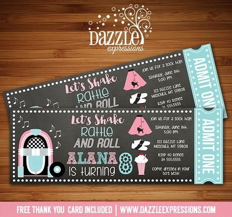 Printable 50's Sock Hop Chalkboard Ticket Birthday Invitation   Fifties Party Event   Dance   Fundraiser   Kids Birthday Party   School Party   Poodle Skirt   Jukebox   Diner   FREE thank you card included   Printable Matching Party Package Decorations Available! Banner   Signs   Labels   Favor Tags   Water Bottle Labels and more! www.dazzleexpressions.com
