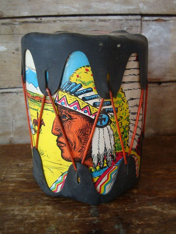 Vintage Kids Toy Indian Drum From the 50's60's by blastintothepast, $18.00