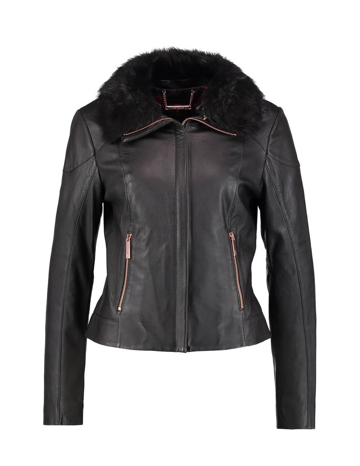 Black leather jacket with fur collar and rosegold hardware | Ted Baker