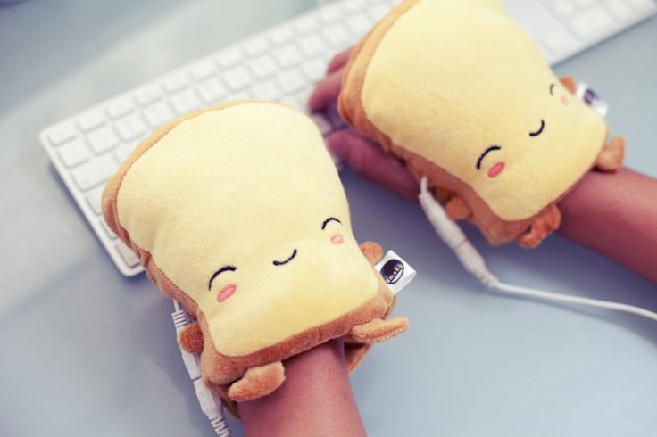 USB cute toast hand warmers in cubicle