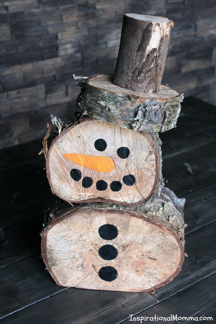This DIY Log Snowman is so simple to make at a minimal cost. He is quite cute and is sure to create a festive winter wonderland!