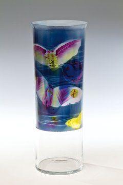 Painted glass vase, H: 34,0 cm, 1985