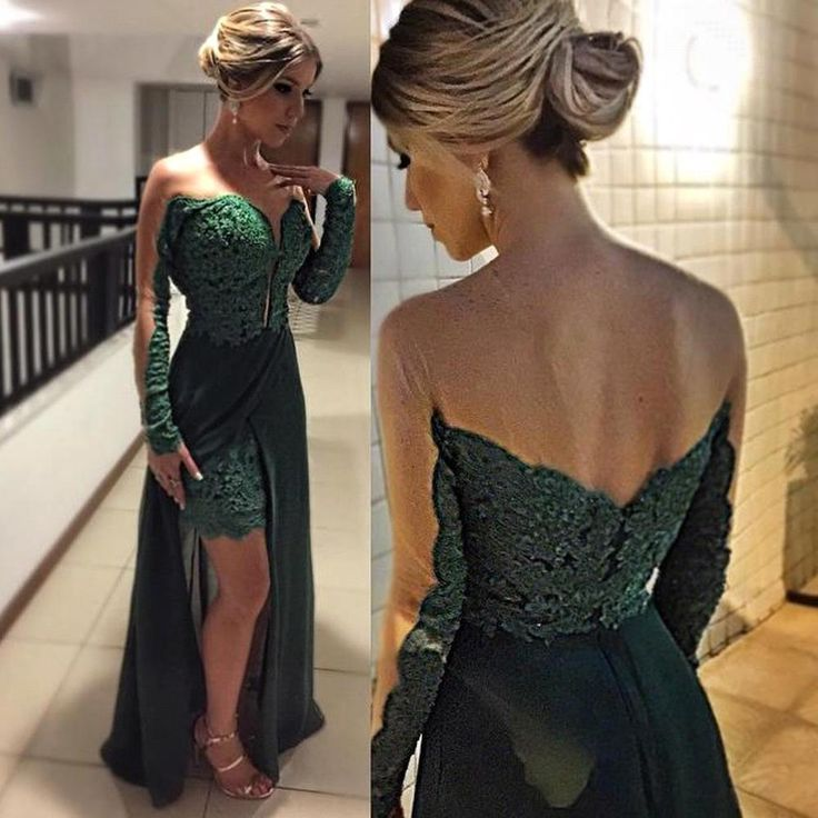 Elegant Long Sleeve Green 2016 Evening Dresses Skirt Long Lace Appliques Party Prom Gown