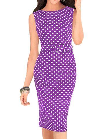 kup Plus size polka kropki sukienka midi z otoczką z paskiem & Sukienki - w Jollychic