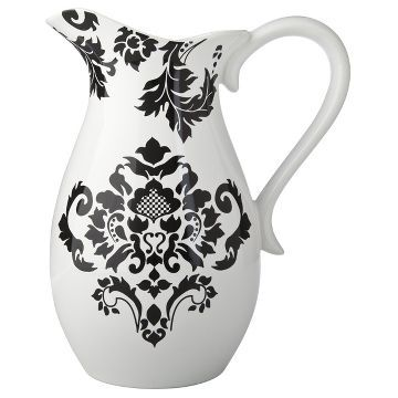 Damask Pitcher - Black/White