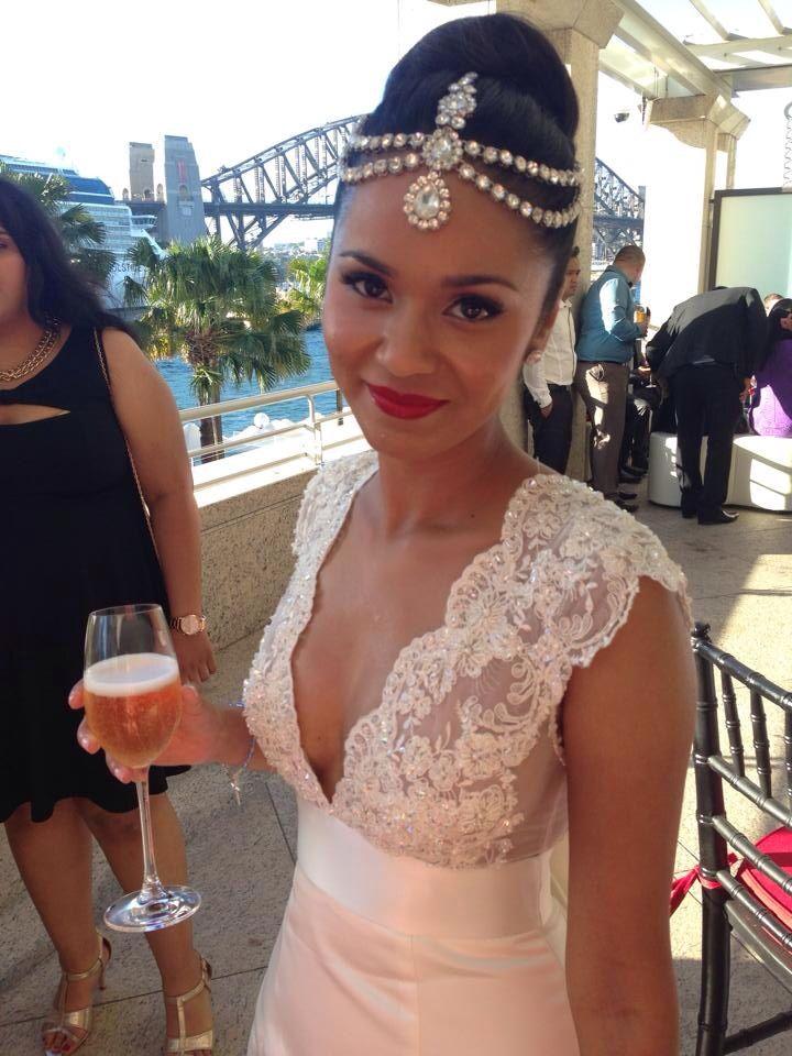 Verna's wedding: Vintage wedding makeup - red lips, black eye liner. Jewelled headpiece (Indian inspired)