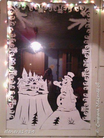Интерьер Поделка изделие Новый год Вырезание Новогодние окошки Бумага фото 3