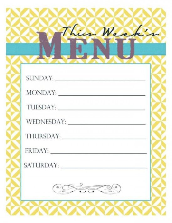 Best 25+ Weekly menu template ideas on Pinterest Menu planners - dinner menu templates free