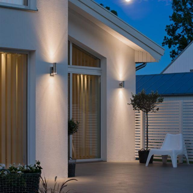 LED Wandleuchte Premium mit Bewegungsmelder, Außenleuchte, 2-Flammig, Edelstahl, Up Down, GU10-230V, (Form:A3)