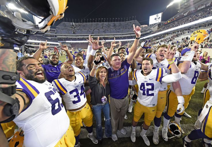 LSU Celebrates a victory over Texas A&M