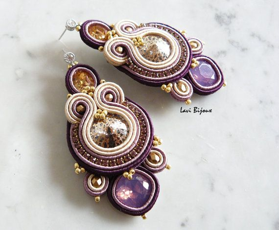 Soutache Earrings Handmade Earrings Hand Embroidered di LaviBijoux
