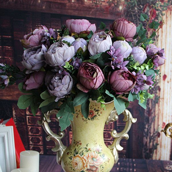 12 Heads Artificial Peony Silk Flowers Simulation Peony Home Party Wedding decor