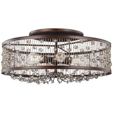 """Feiss Colorado 29 1/4""""W Chestnut 6-Light Ceiling Light"""