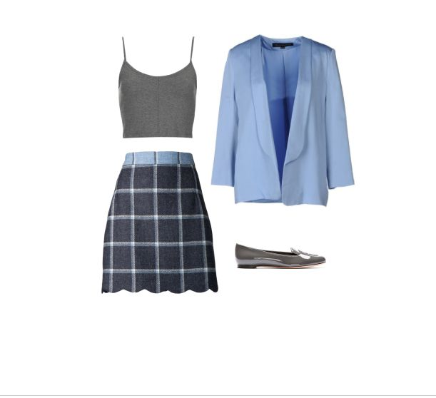 Sophisticated Schoolgirl: How To Rock The Plaid Mini --  Academia Azure --  House of Holland Skirt  , Topshop Crop Top  , French Connection Blazer  , Alexander McQueen Grey Loafers