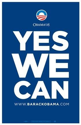 Barack Obama - Yes We Can - Blue Campaign Poster - African American Heritage