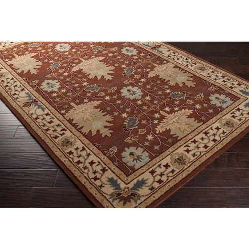 3x8 runner arts crafts mission style william morris rust for Arts and crafts style rug