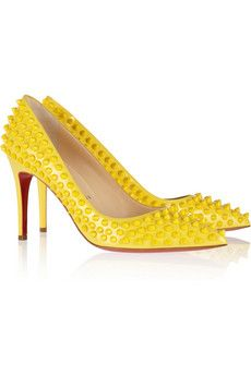 Christian Louboutin | Pigalle Spikes 85 patent-leather pumps  | NET-A-PORTER.COM