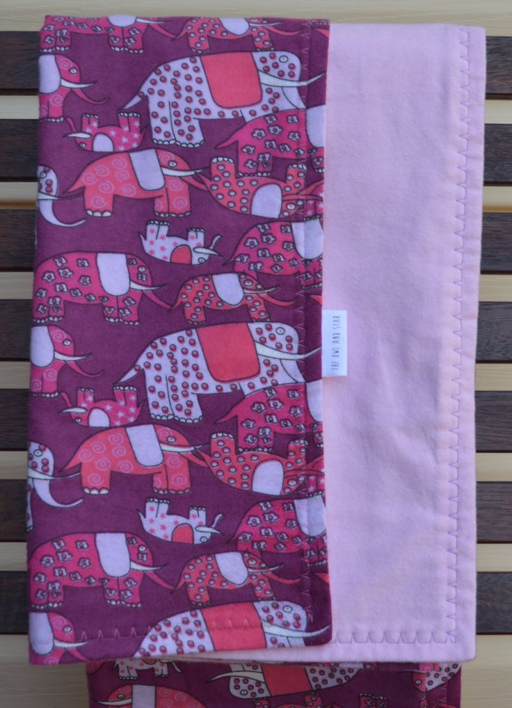 Pink and Purple Flannelette Elephant Baby Blanket 120x105cm by TheOwlandStar on Etsy