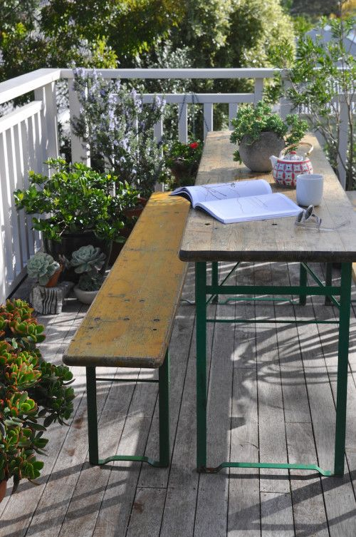 bavarian beer table and bench via designsponge