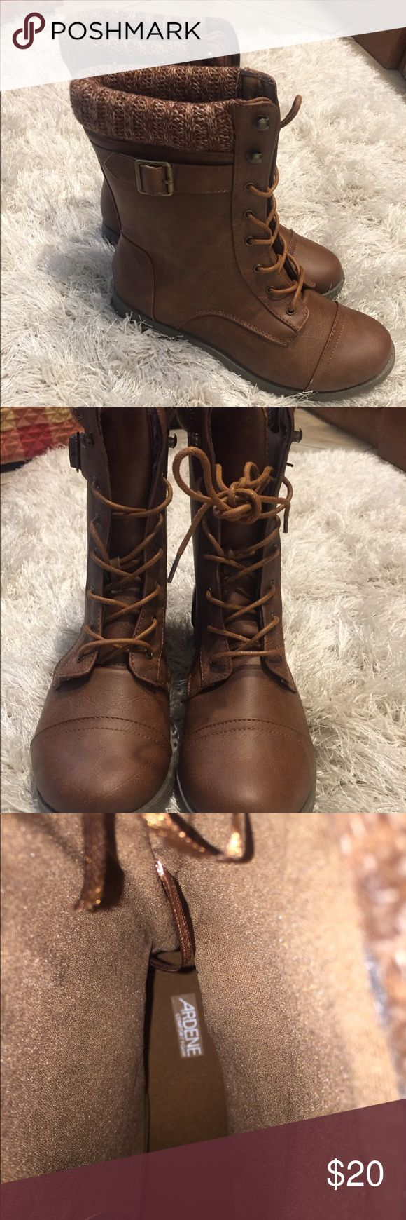 Ardene laced combat boots BRAND NEW. NEVER WORN.  Mid-calf faux leather boots. Laced upper. Comfort foam insole. Track sole. Knit border. Ardene Shoes Combat & Moto Boots