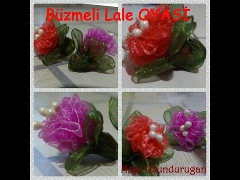 Organze Kurdele oyaları&BÜZMELİ LALE ÇİÇEĞİ&Forex flower,health flower,holiday flower, Taksim flower - YouTube
