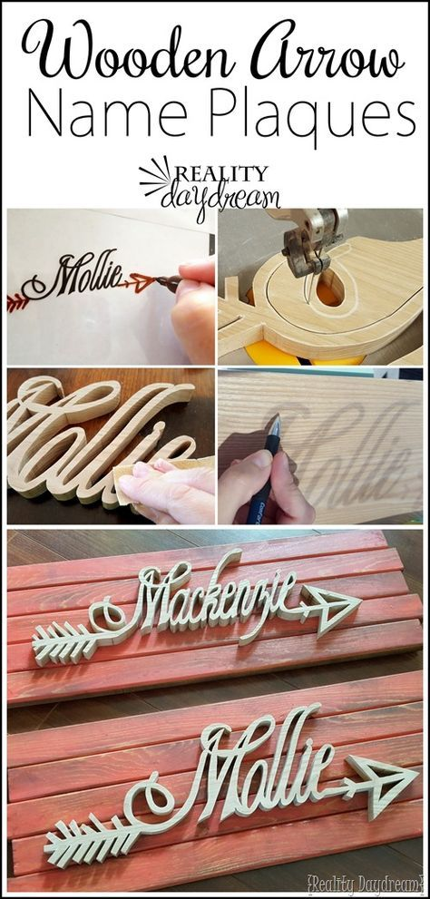 These personalized wooden 'arrow' Name Plaques are such a fun handmade gift idea or nursery decor! {Reality Daydream}