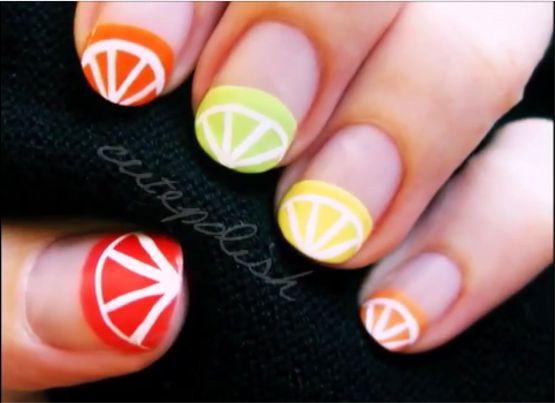 Fruit Wedges nail art - manicure - nail polish