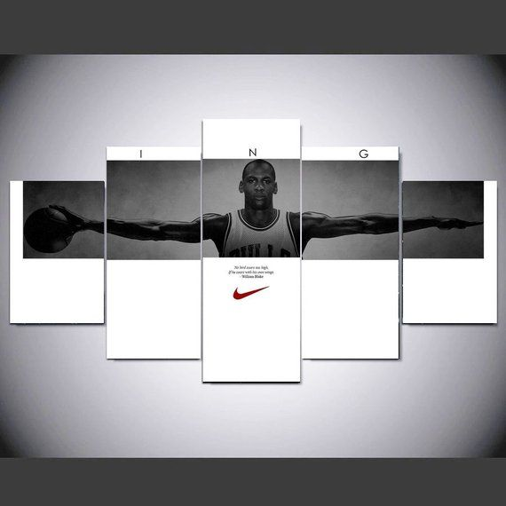 5 Panel Michael Jordan Wings Canvas Art Painting Nba Super Star Poster Mj Canvas Prints Wall Room Decor No Framed Exviver Canvas Print Wall Canvas Art Painting Canvas Art