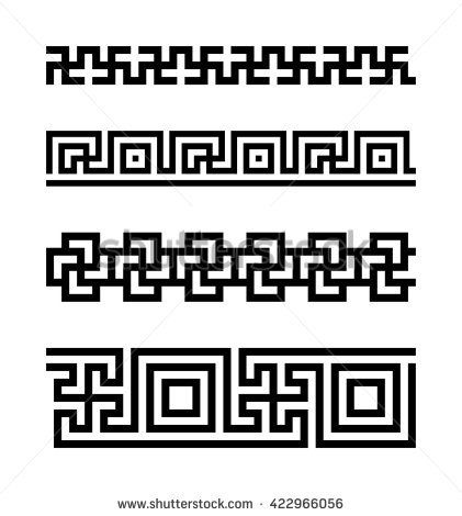 Set of meander borders. Vector ancient patterns. Sacred symbol using in Hinduism, Buddhism, Jainism and in Greek culture