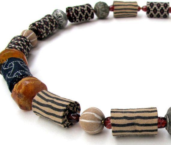 Wearable art safari plains fiber necklace by Gilgulim on Etsy, $62.00