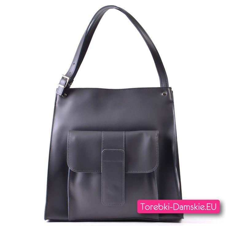 Szara torba ze skóry na ramię, mieści format A4, ciemny odcień koloru szarego (grafit/antracyt) Zobacz inne zdjęcia tej wersji: http://torebki-damskie.eu/duze-miejskie/1408-szara-ciemna-modna-torba-ze-skory.html