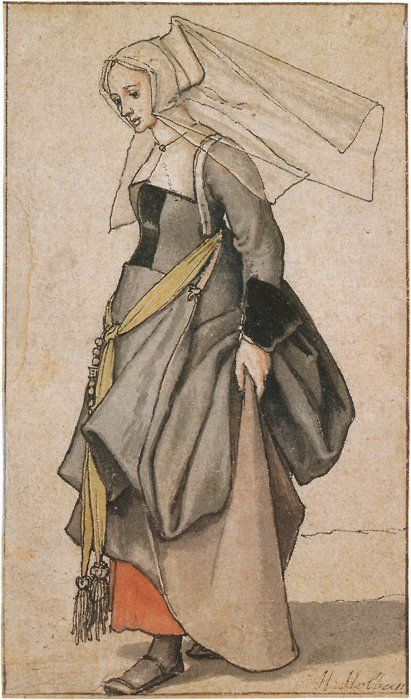 Another interesting contemporary costume study, this time by Hans Holbein the Younger.  It's very unusual to see women's shoes in Medieval and Renaissance artwork, making information about them scarce.
