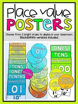 Add color to your classroom with these place value posters. Perfect visual to keep displayed year round. If there was ONE thing I could have added to my 4th grade classroom last year, it would have been these posters. Place Value is a huge and at times difficult concept in the 3rd-5th grade.