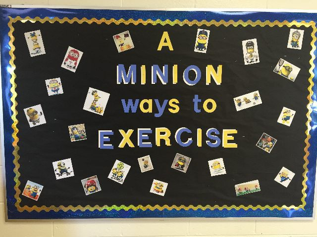 "MY Bulletin Board on PE Central!! :) ""A MINION ways to Exercise"""