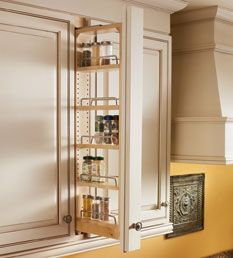 Storage Solutions Details   Wall Filler Pullout   KraftMaid Spice Rack In  Cabinet