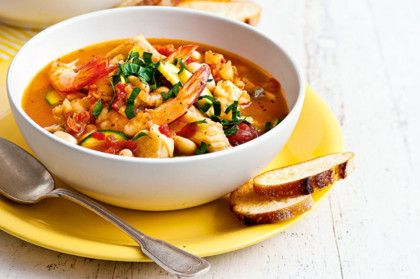 Italian seafood soup with garlic croutons