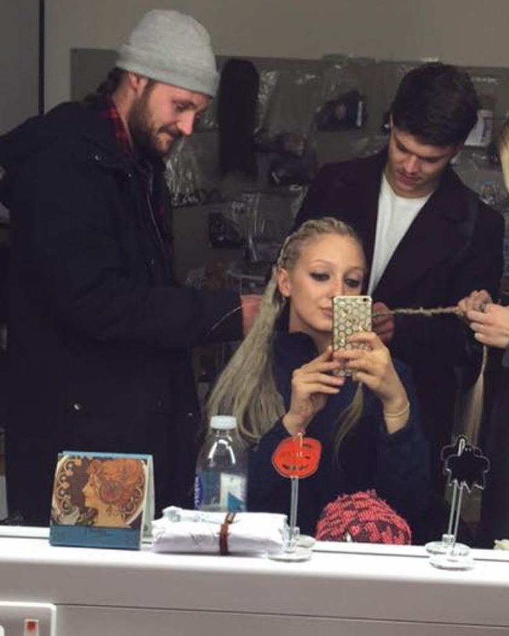 Actors from The Vikings helping out in hair and makeup. Lol