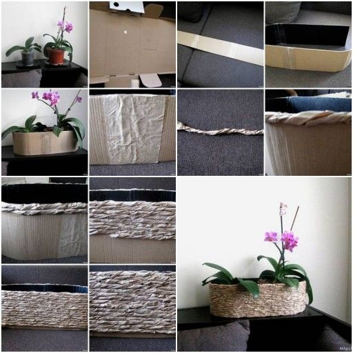 DIY Planter from Packing Paper and Cardboard tutorial and instruction. Follow us: www.facebook.com/fabartdiy