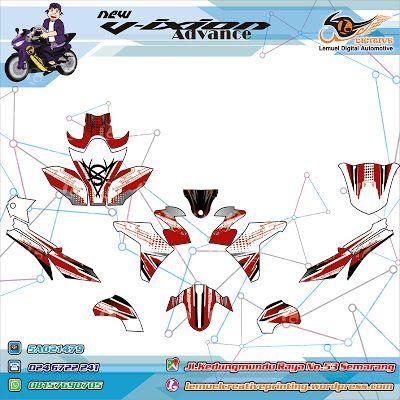 Custom Decal Vinyl Striping Motor Full Body Yamaha New Vixion Advance Strip Techno Red Black Berkualitas by DIGITIVE