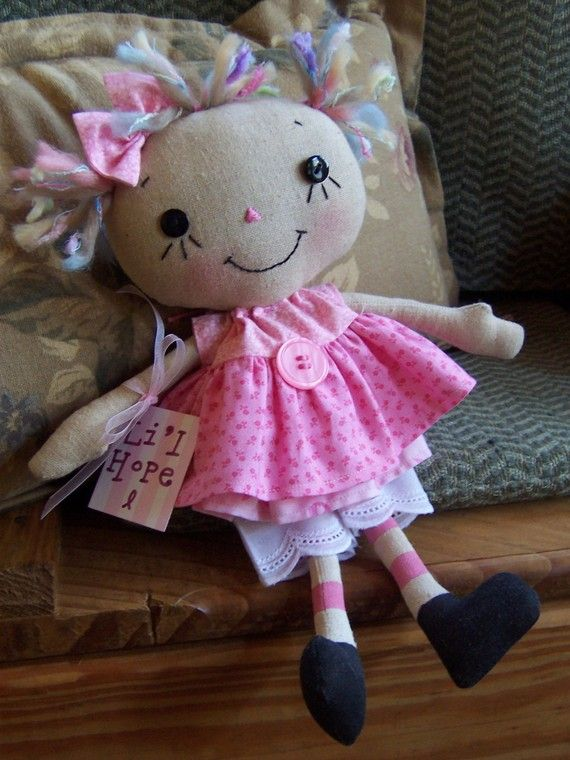 L'il Hope dolls, cuz everyone needs a little hope.  % proceeds go to breast cancer research.  <3: Clothing Dolls, Crafts Dolls Raggedy Anne, Dolls Etsy, Hope Dolls, Rag Dolls, Raggedy Dolls, Diy Dolls, Dolls Toys, Crafts Sewing