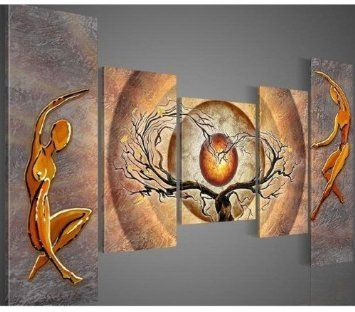 Santin Art - Modern Canvas Art Orange Trees Dancing Home Decoration Abstract Oil Paintings on Canvas 5pcs/set Framed Art