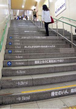 四条駅の北階段 痩せたい人、階段へGO! 階段上るのに勇気はいらない。 少しがんばる気持ちがあればいいんだよ。 上りはハムストリングスが鍛えられます! 筋肉を鍛えてスリムな足に! 腕も振って全身運動! 階段使って脱メタボ 世界最長の階段は11674段 日本最長は3333段 それに比べりゃたった63段ですよ。 幸せは前向きな一歩から始まる。 一歩一歩があなたの努力の足跡です。 階段は人生と同じ。一段ずつ着実に! 一段ずつ着実に上がっていくあなたの後ろ姿が好き。 階段上る自分の後ろ姿って自分じゃ見えないんだよね。 人間はエスカレーターという便利なものを発明した。 でも階段を発明した人はもっとすごいと思う。 この階段を息も切らさずに上ってきたあなたたいしたものだねぇ! 今日も階段を上ってくれてありがとう 下りは大腿四頭筋に効果あり! by若手職員増客チーム燃え燃えチャレンジ