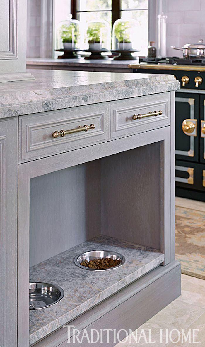 Grey Kitchen - pet feeding station