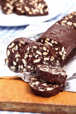 Salame di cioccolato, ricetta originale, veloce, con biscotti secchi.