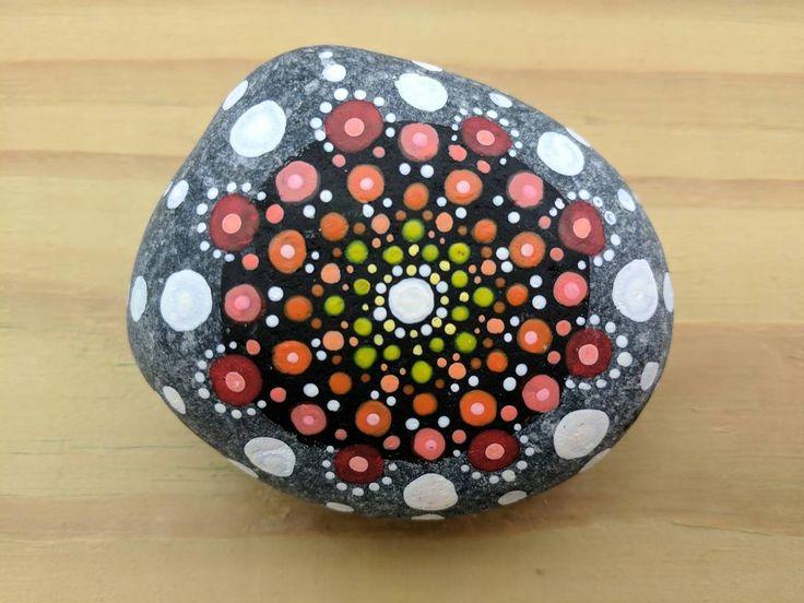 """Saya"" (2017) - dot mandala pattern on river rock. ""Saya"" means ""happy"" in Filipino Tagalog. . . . #art #artist #artshare #artofinstagram #artistsoninstagram #instaart #instaartist #craft #crafts #creative #creativelife #rock #stone #rockpainting #acrylic #handmade #original #mandala #meditation #zen #calm #hindi #buddhism #yoga #tiny #dots #point #dailyart #nofilter #j9creationstudio"